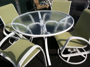 "Telescope Casual Oceanside Chairs with 48"" Glass table"